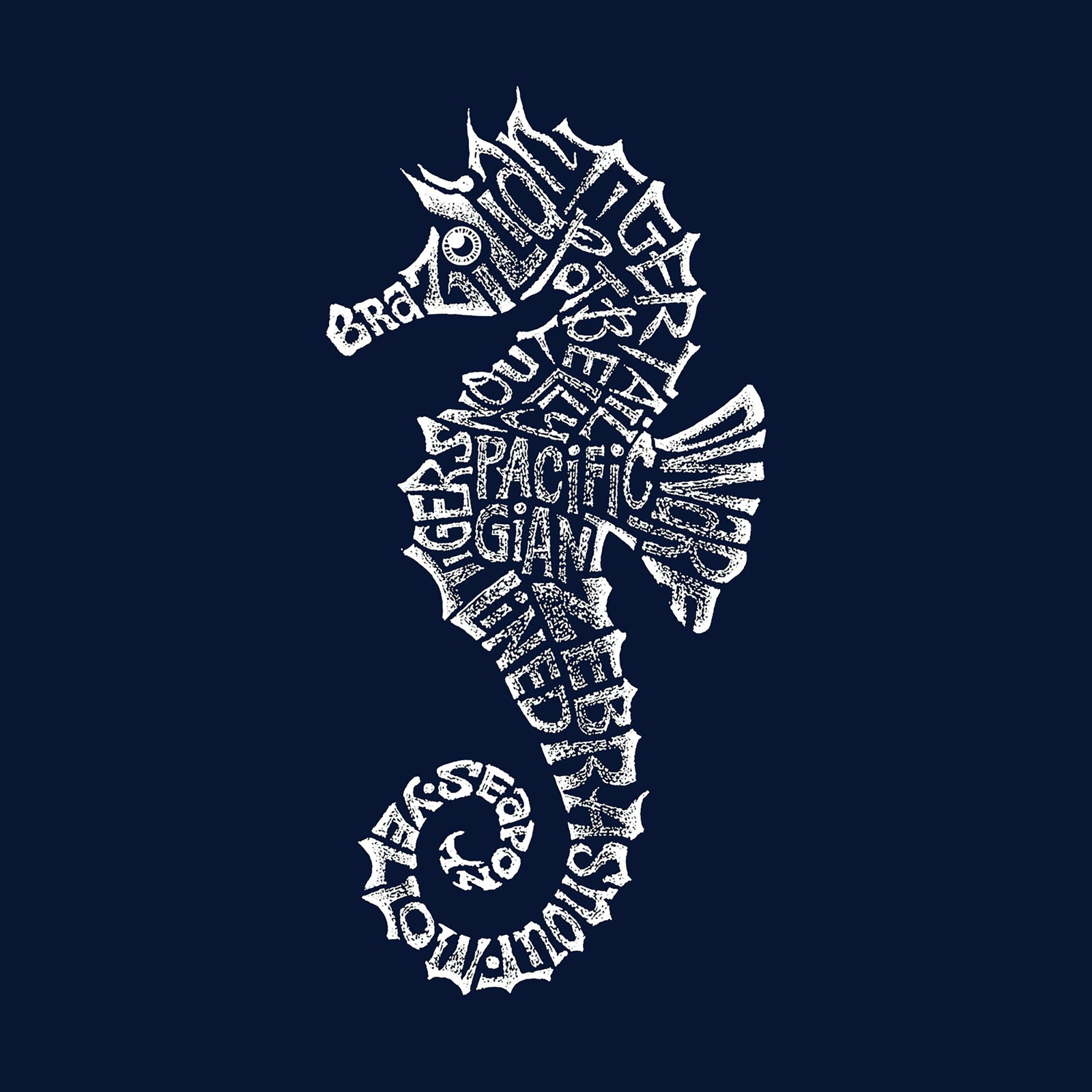 Boy's Word Art T-shirt - Types of Seahorse