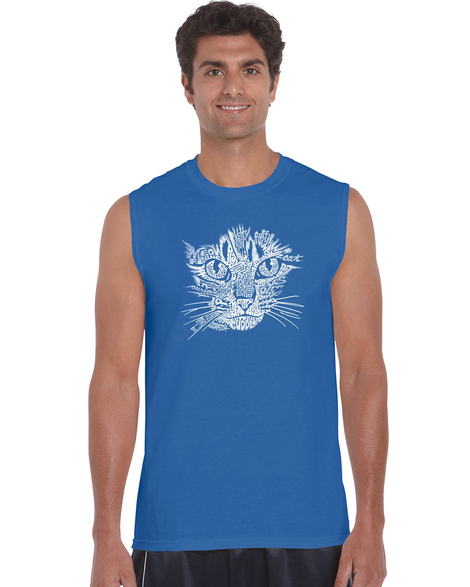 Men's Sleeveless T-shirt - Cat Face