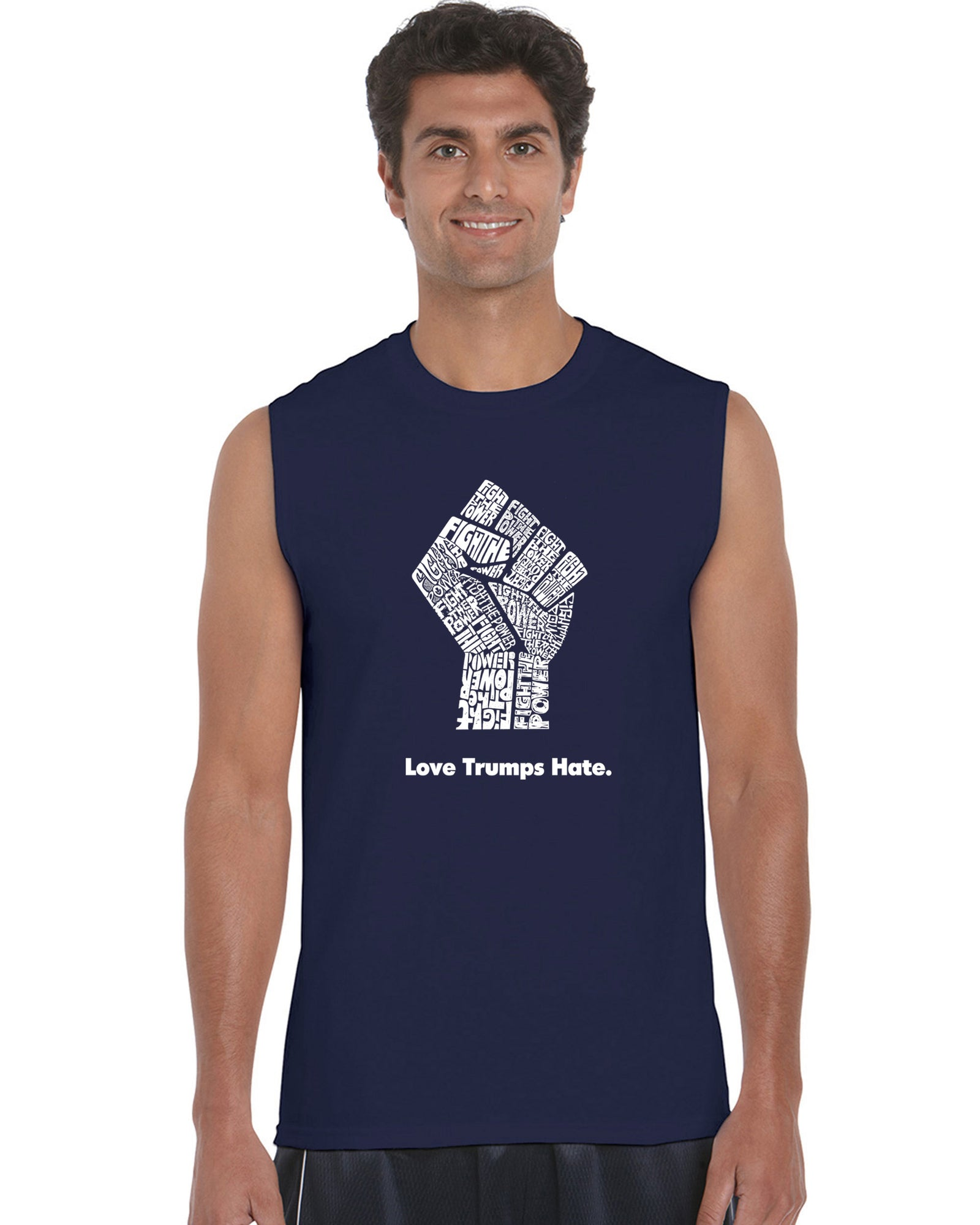 Men's Sleeveless T-shirt - Love Trumps Hate Fist