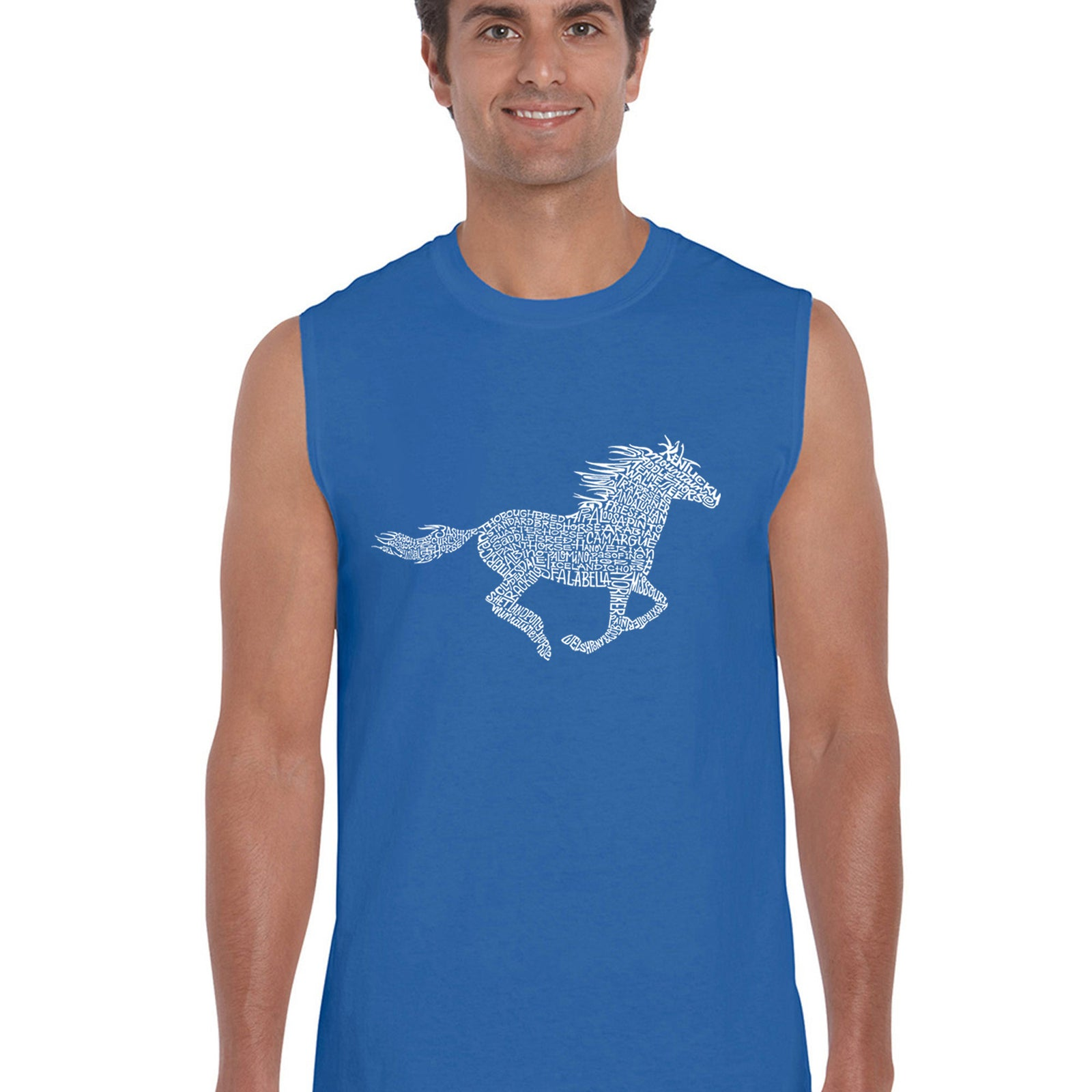 Men's Word Art Sleeveless T-shirt - Horse Breeds