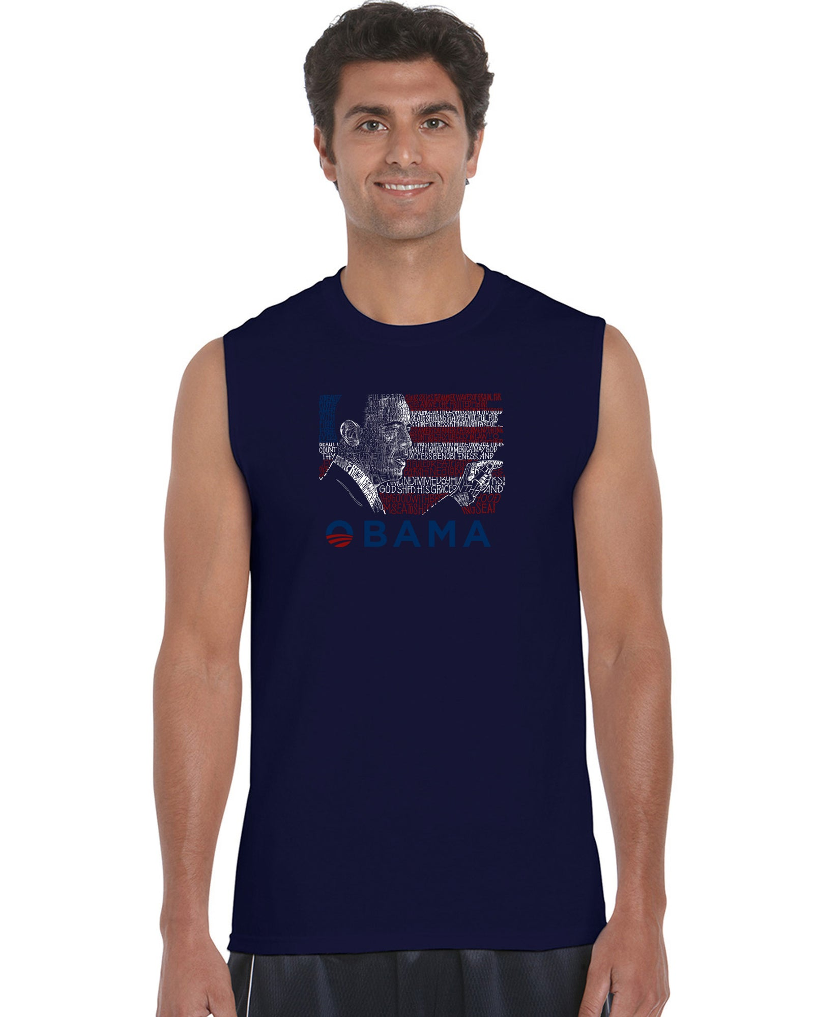 Men's Sleeveless T-shirt - BARACK OBAMA - ALL LYRICS TO AMERICA THE BEAUTIFUL
