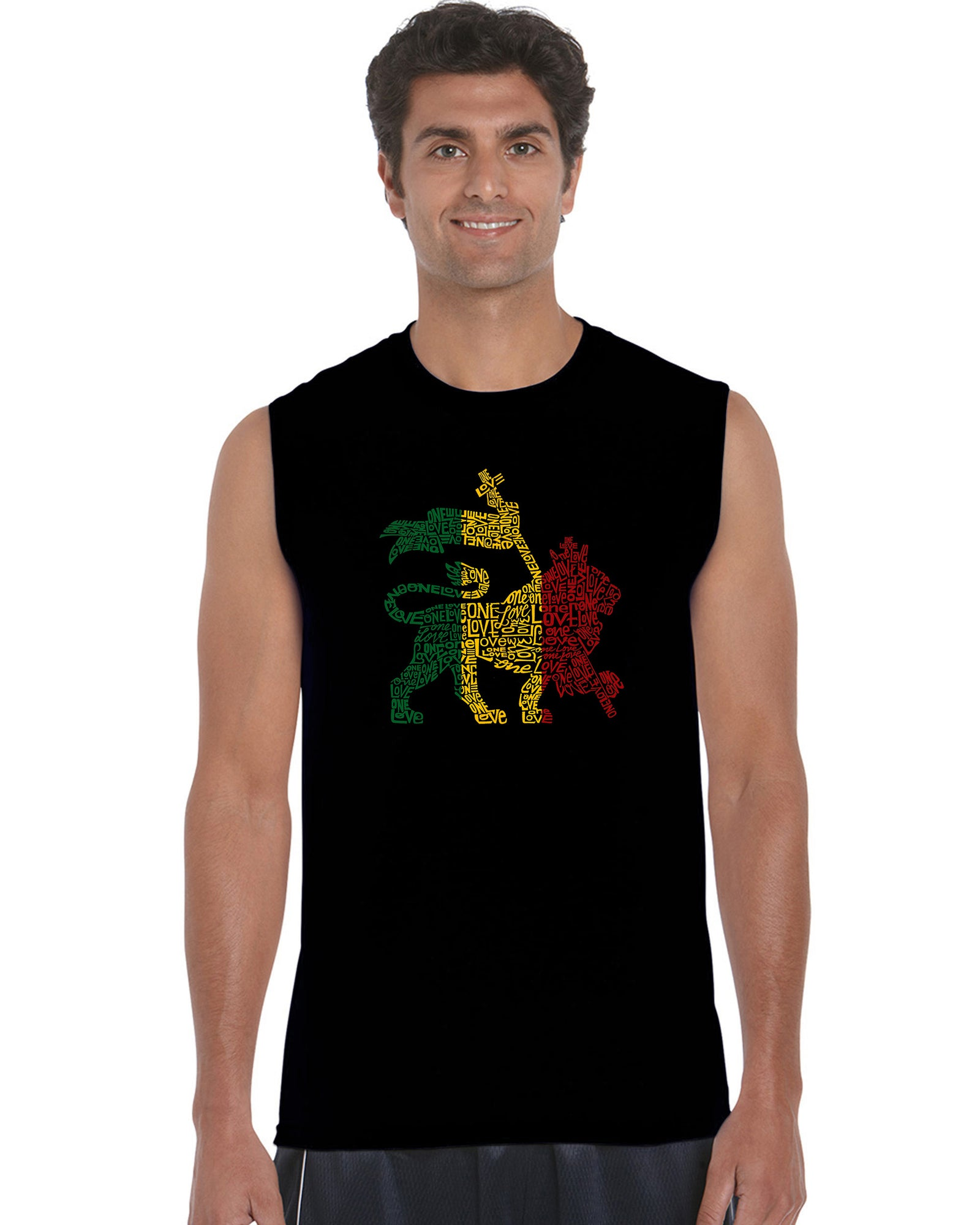 Men's Sleeveless T-shirt - Rasta Lion - One Love