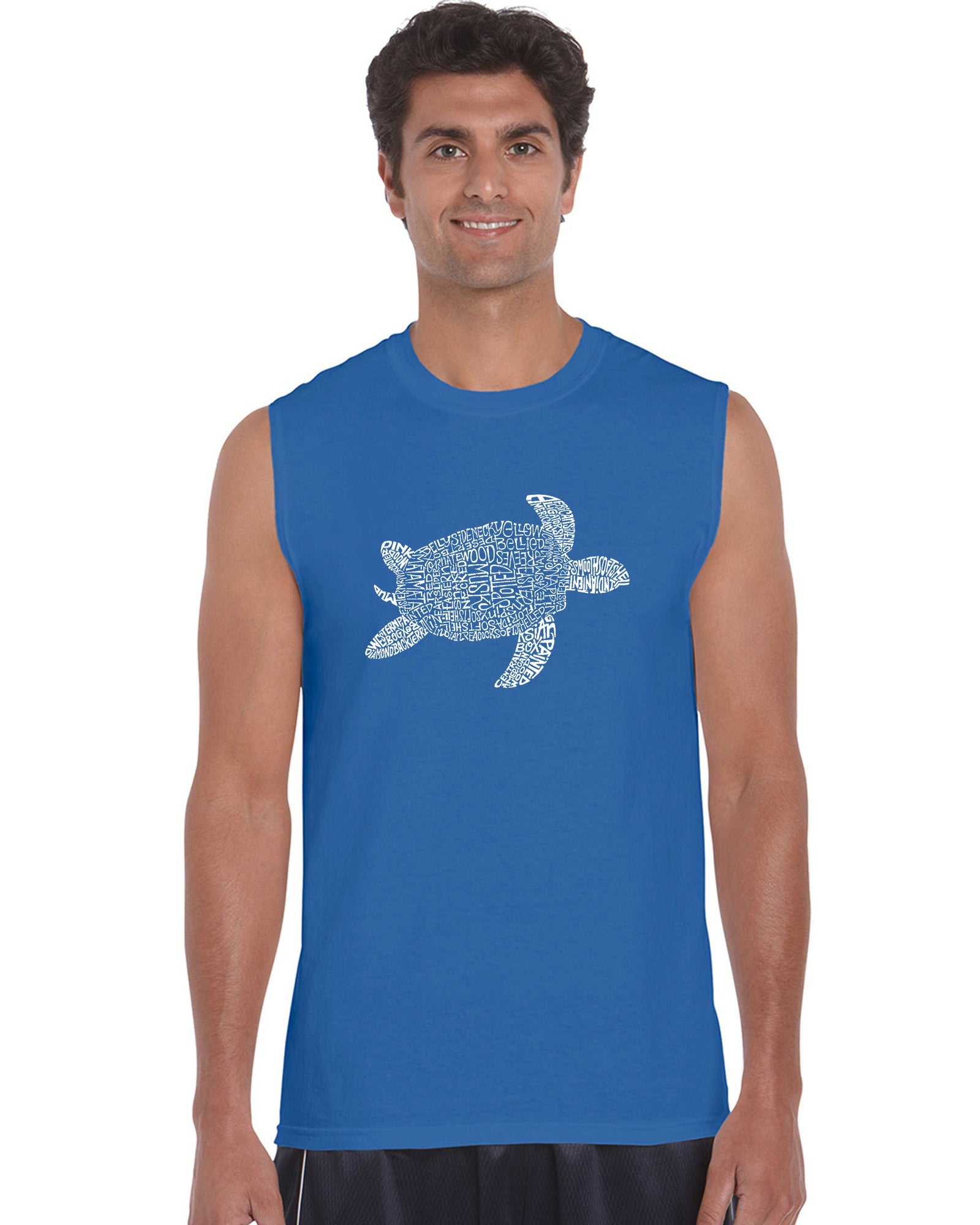 Men's Word Art Sleeveless T-shirt - Turtle