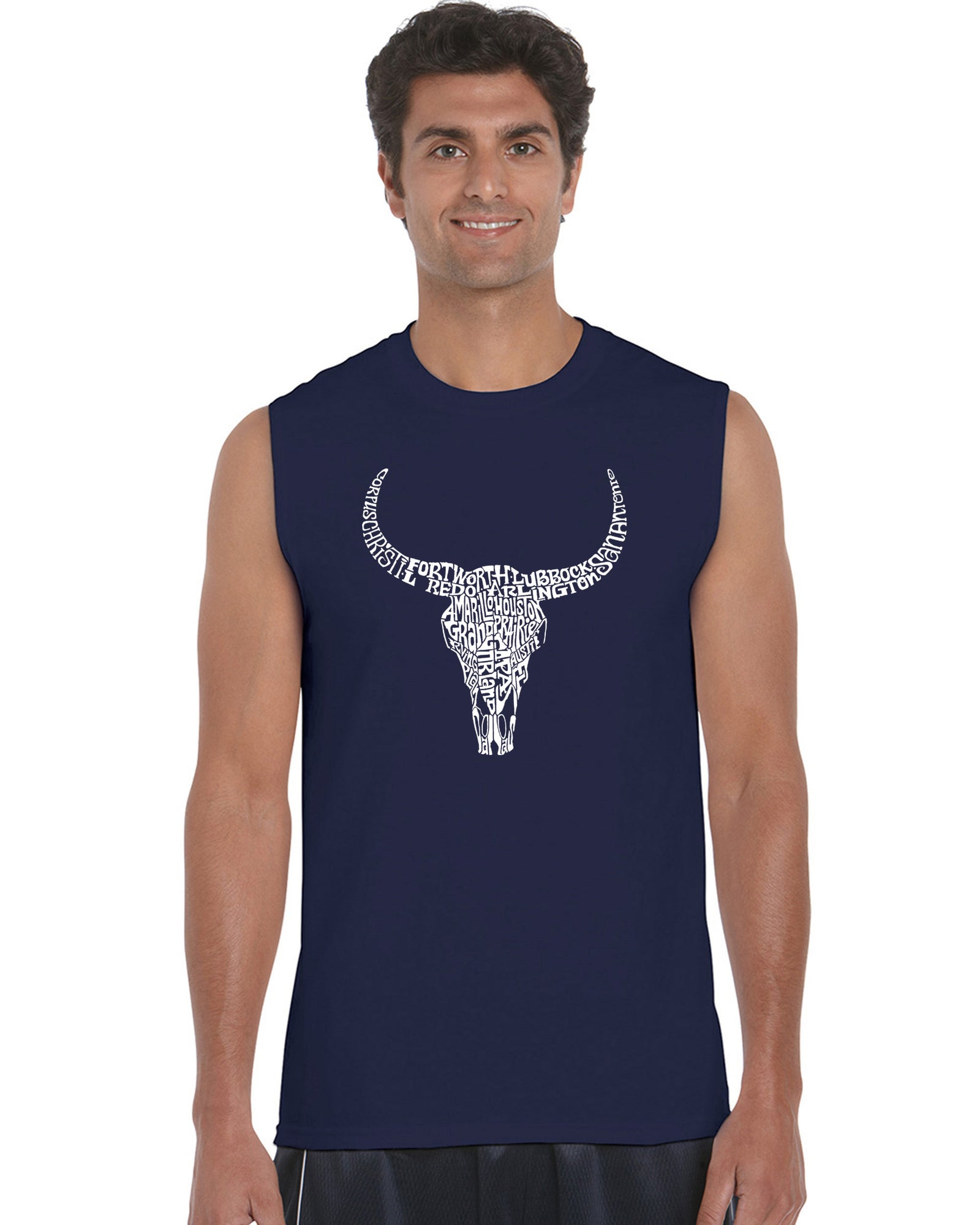 Men's Word Art Sleeveless T-shirt - Texas Skull