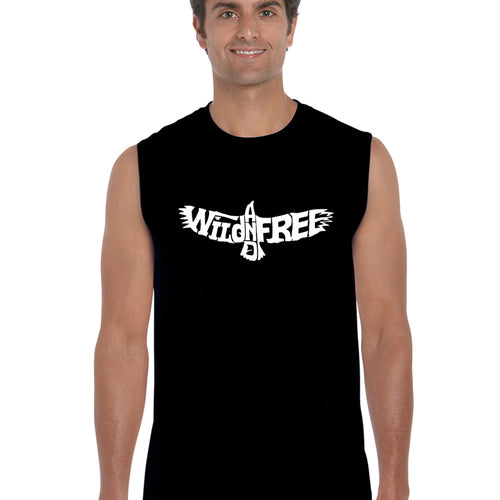Men's Word Art Sleeveless T-shirt - Wild and Free Eagle