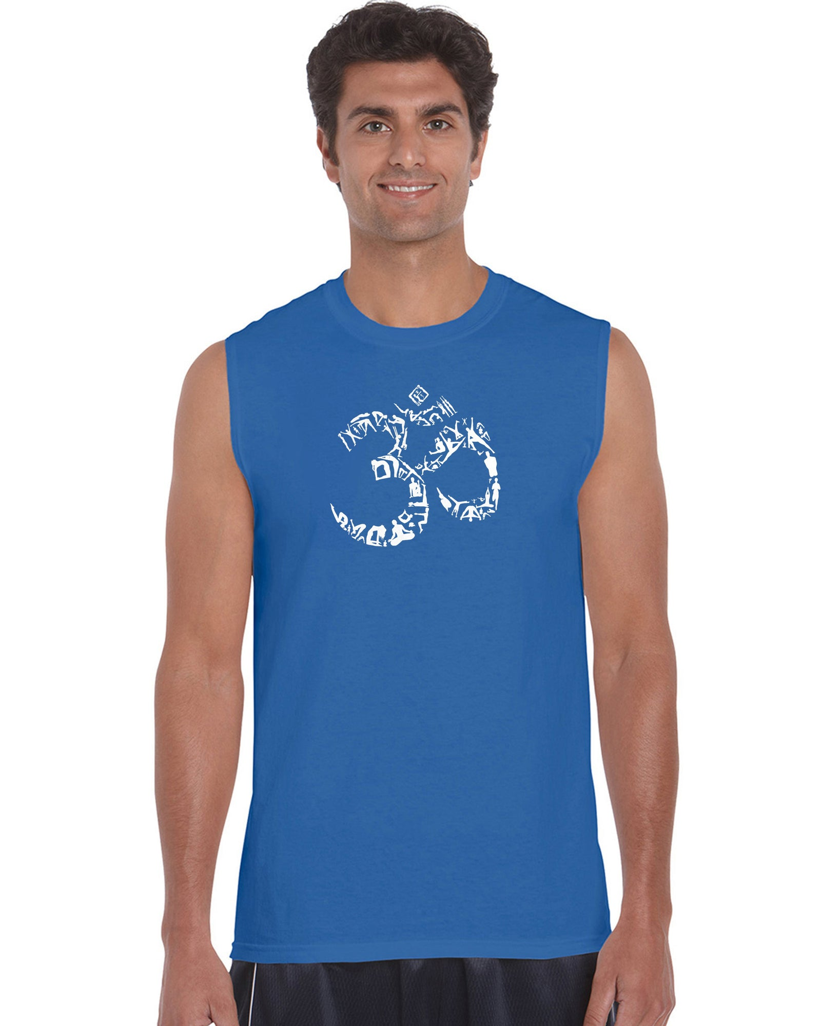 Men's Sleeveless T-shirt - THE OM SYMBOL OUT OF YOGA POSES