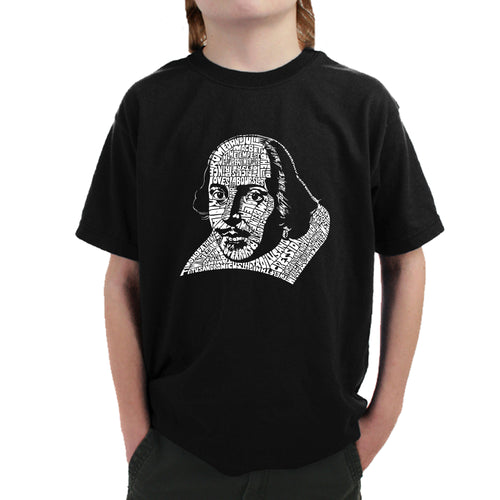 Boy's T-shirt - THE TITLES OF ALL OF WILLIAM SHAKESPEARE'S COMEDIES & TRAGEDIES