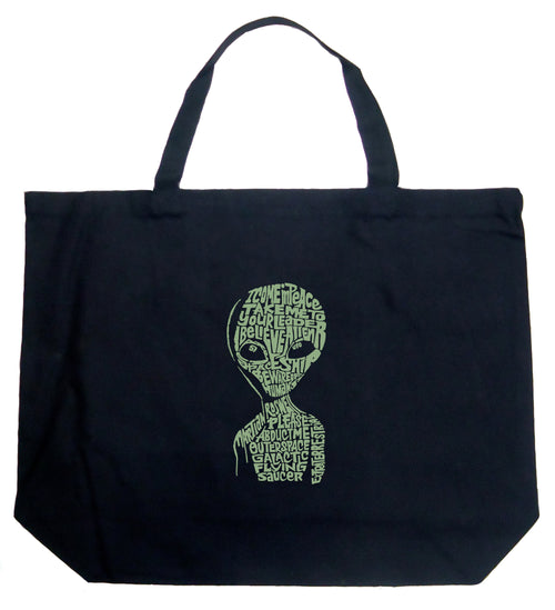 Large Word Art Tote Bag - Alien