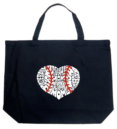 Large Word Art Tote Bag - Baseball Mom