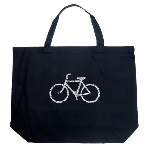 Large Tote Bag - SAVE A PLANET, RIDE A BIKE