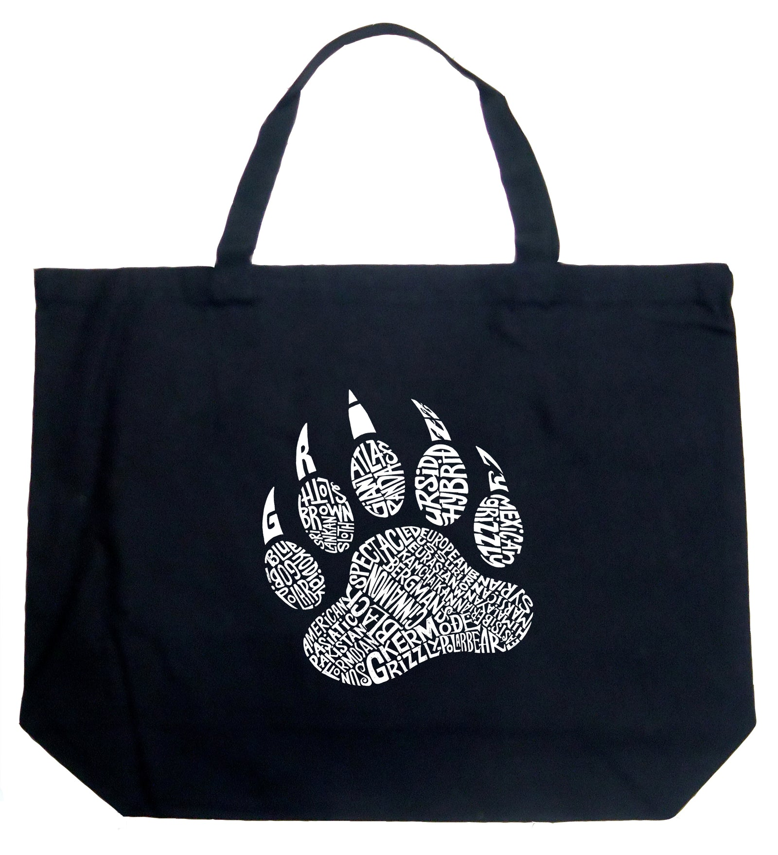 Large Word Art Tote Bag - Types of Bears