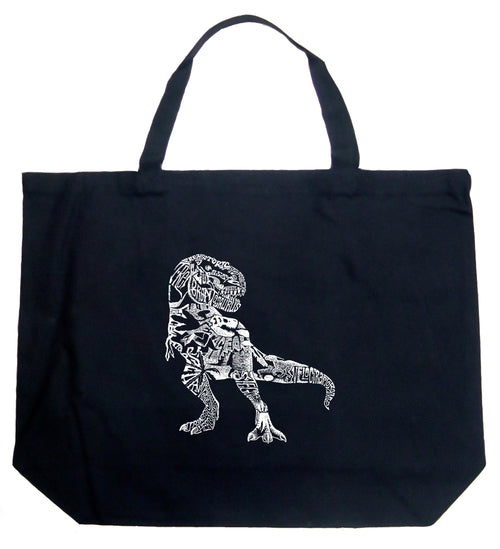 Large Word Art Tote Bag - Dino Pics