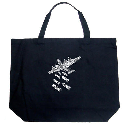 Large Tote Bag - DROP BEATS NOT BOMBS