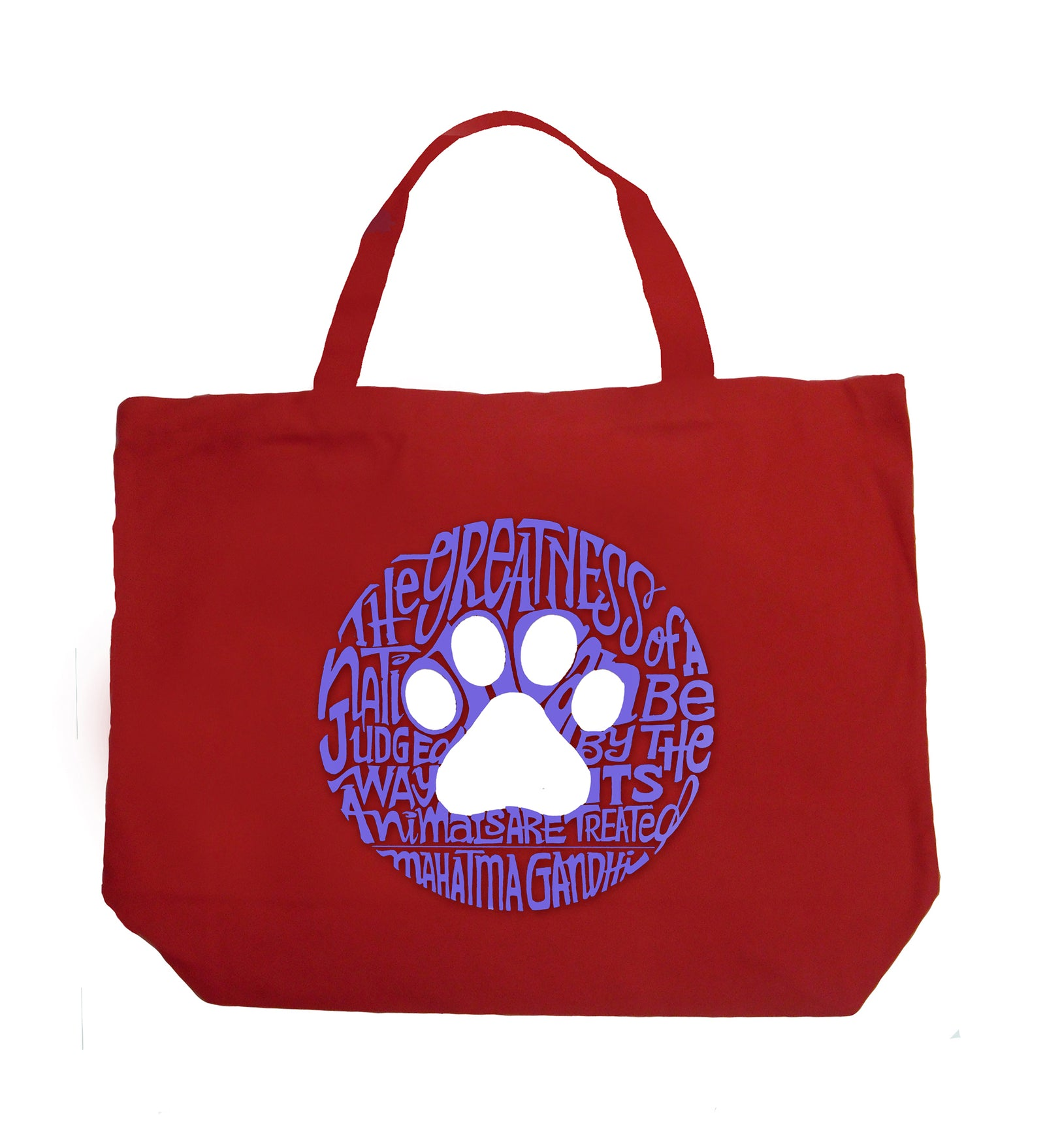 Large Word Art Tote Bag - Gandhi's Quote on Animal Treatment
