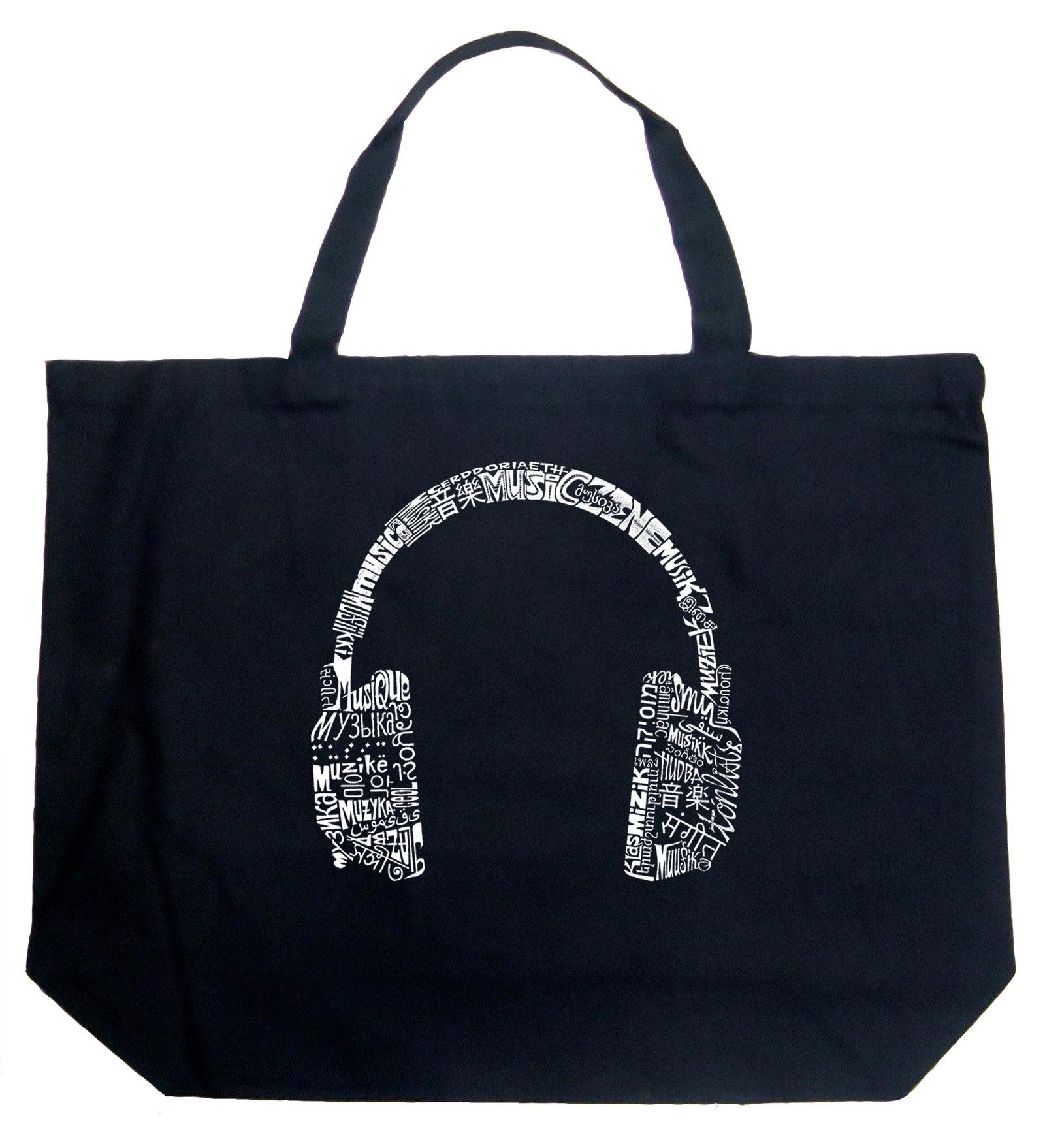 Large Tote Bag - HEADPHONES - LANGUAGES