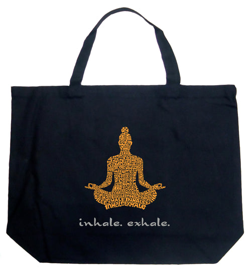 Large Word Art Tote Bag - Inhale Exhale
