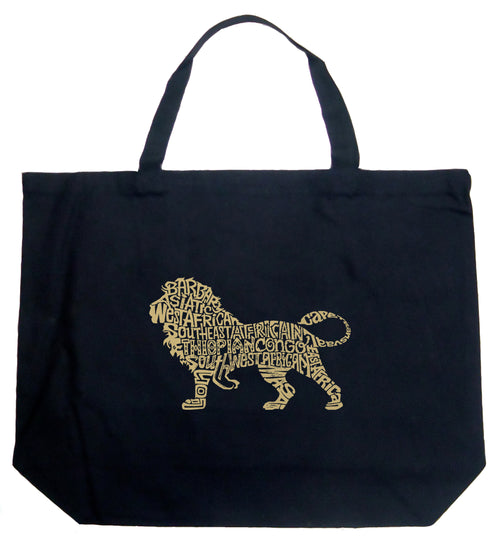 Large Word Art Tote Bag - Lion