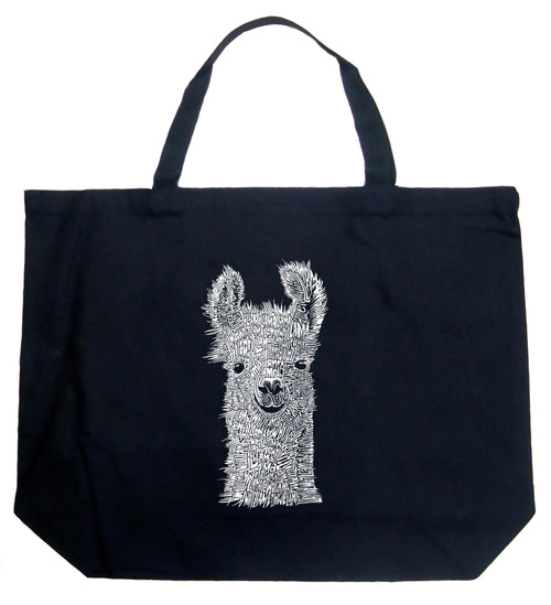 Large Word Art Tote Bag - Llama