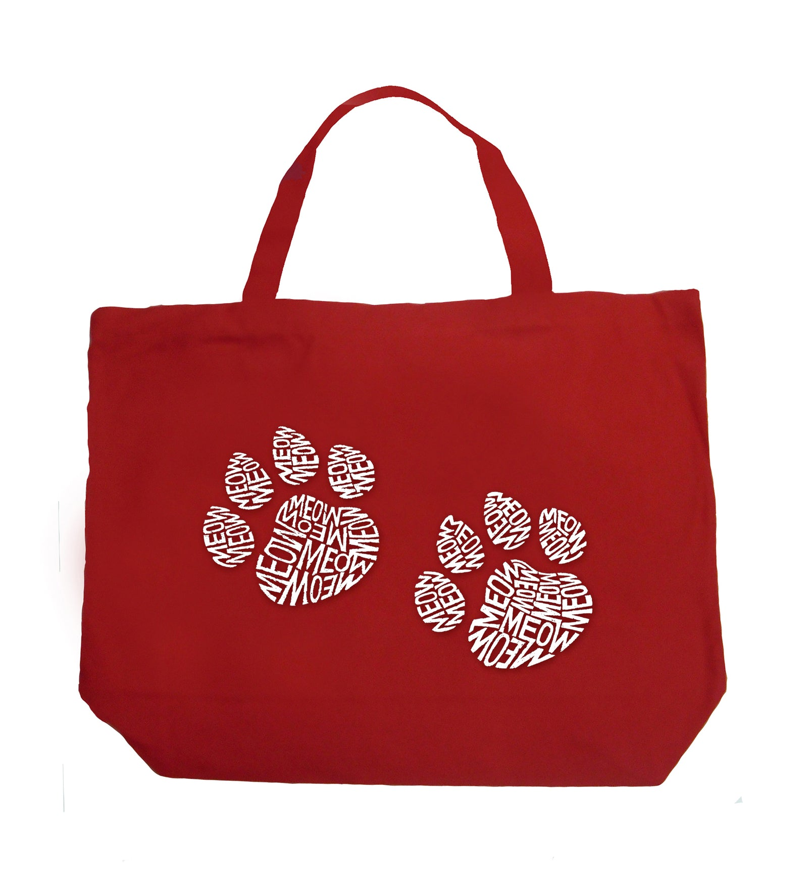 Large Word Art Tote Bag - Meow Cat Prints