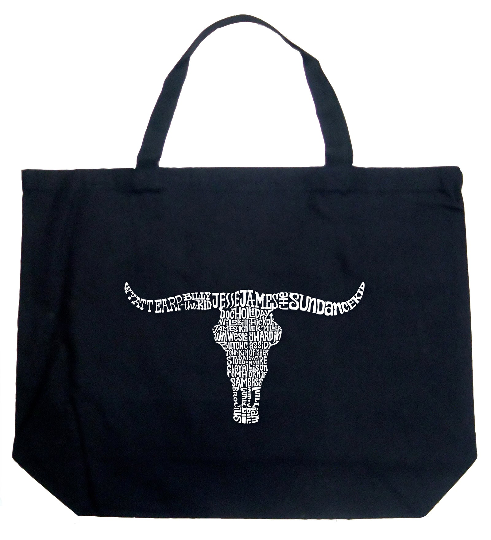 Large Word Art Tote Bag - Names of Legendary Outlaws