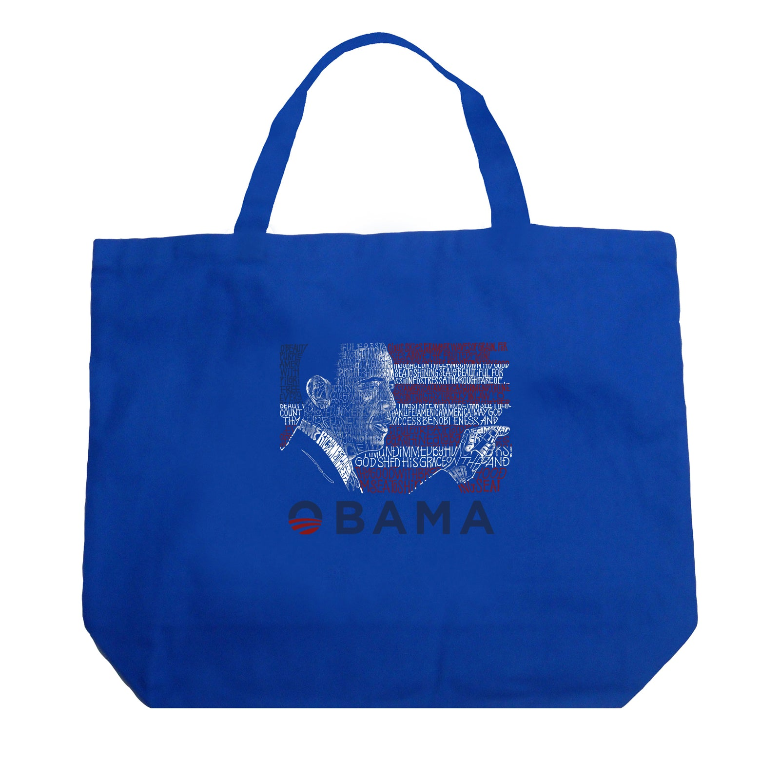 Large Tote Bag - BARACK OBAMA - ALL LYRICS TO AMERICA THE BEAUTIFUL