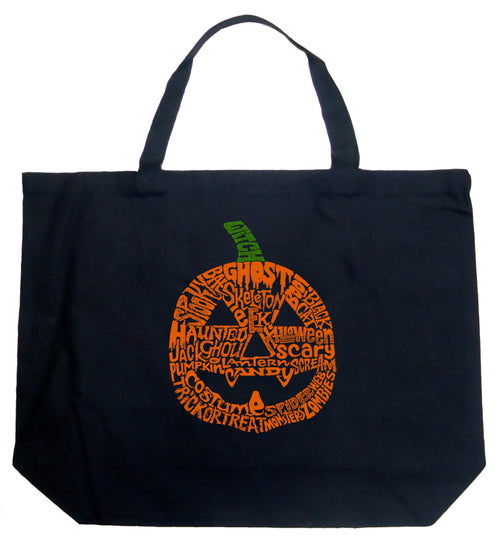 Large Word Art Tote Bag - Halloween Pumpkin