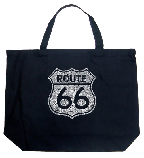 Large Tote Bag - CITIES ALONG THE LEGENDARY ROUTE 66