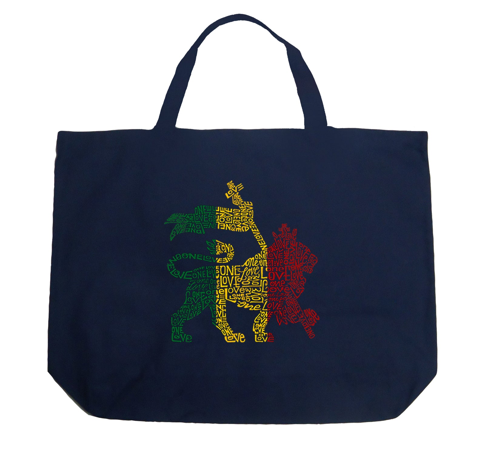 Large Tote Bag - Rasta Lion - One Love