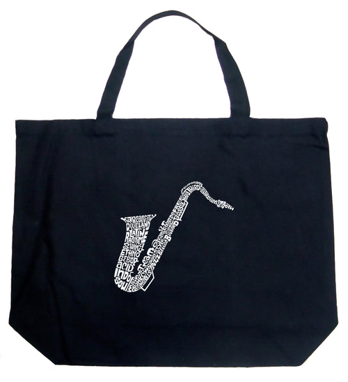 Large Word Art Tote Bag - Sax