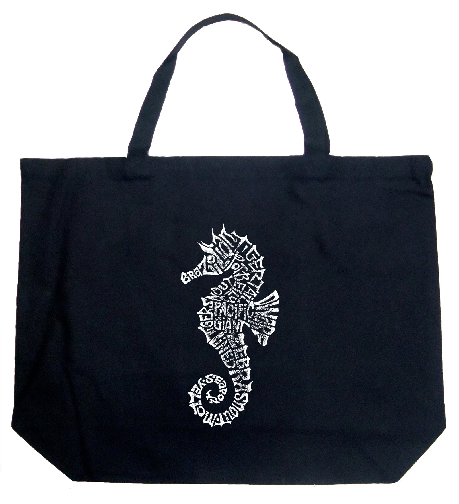 large word art tote bag types of seahorse la pop art