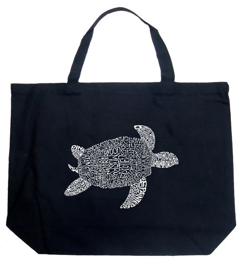 Large Word Art Tote Bag - Turtle