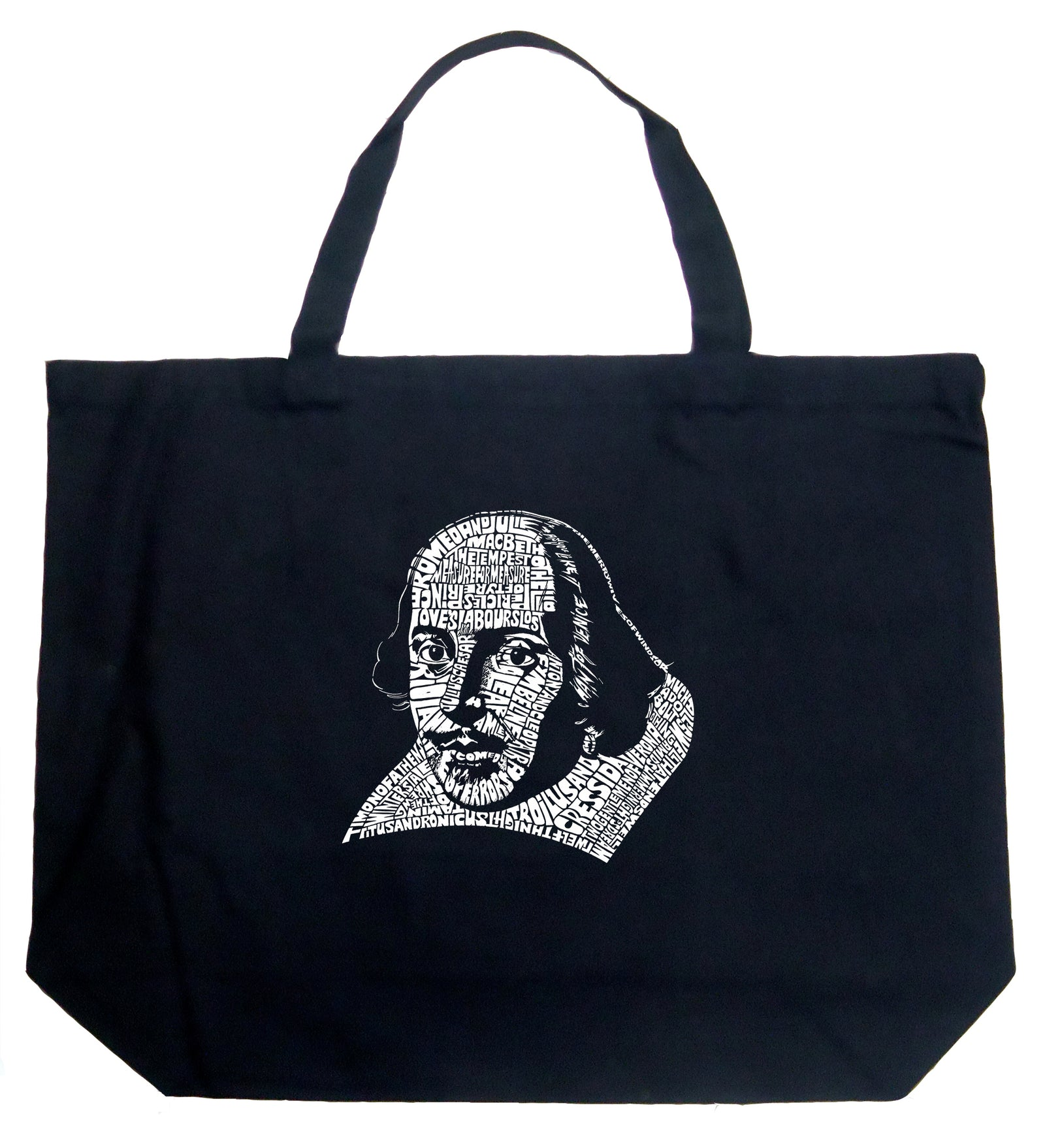 Large Tote Bag - THE TITLES OF ALL OF WILLIAM SHAKESPEARE'S COMEDIES & TRAGEDIES