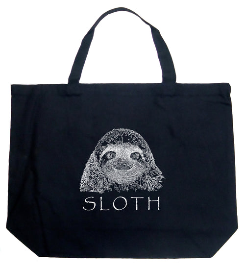 Large Word Art Tote Bag - Sloth