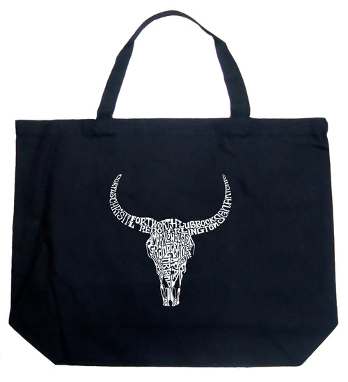 Large Word Art Tote Bag - Texas Skull