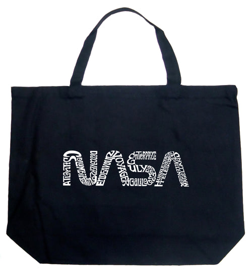 Large Word Art Tote Bag - Worm Nasa
