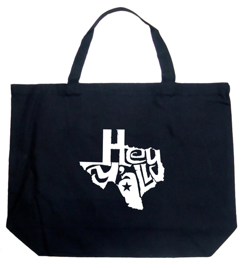 Large Word Art Tote Bag - Hey Yall