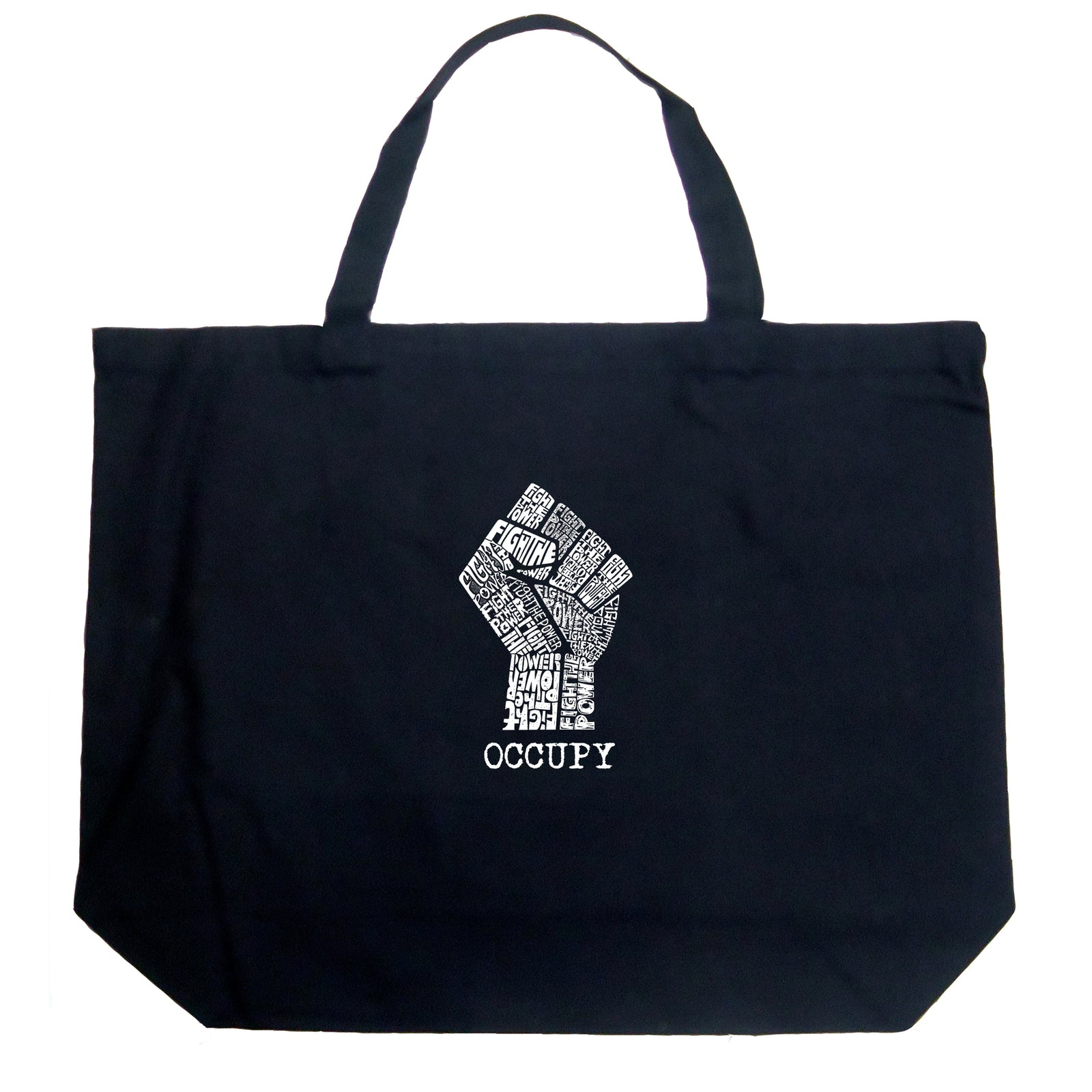 Large Tote Bag - OCCUPY WALL STREET - FIGHT THE POWER