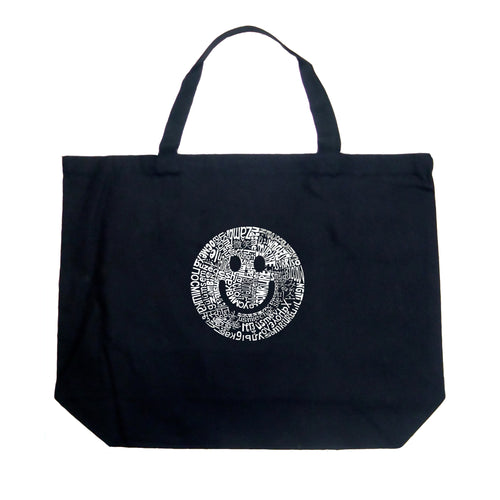 Large Tote Bag - SMILE IN DIFFERENT LANGUAGES