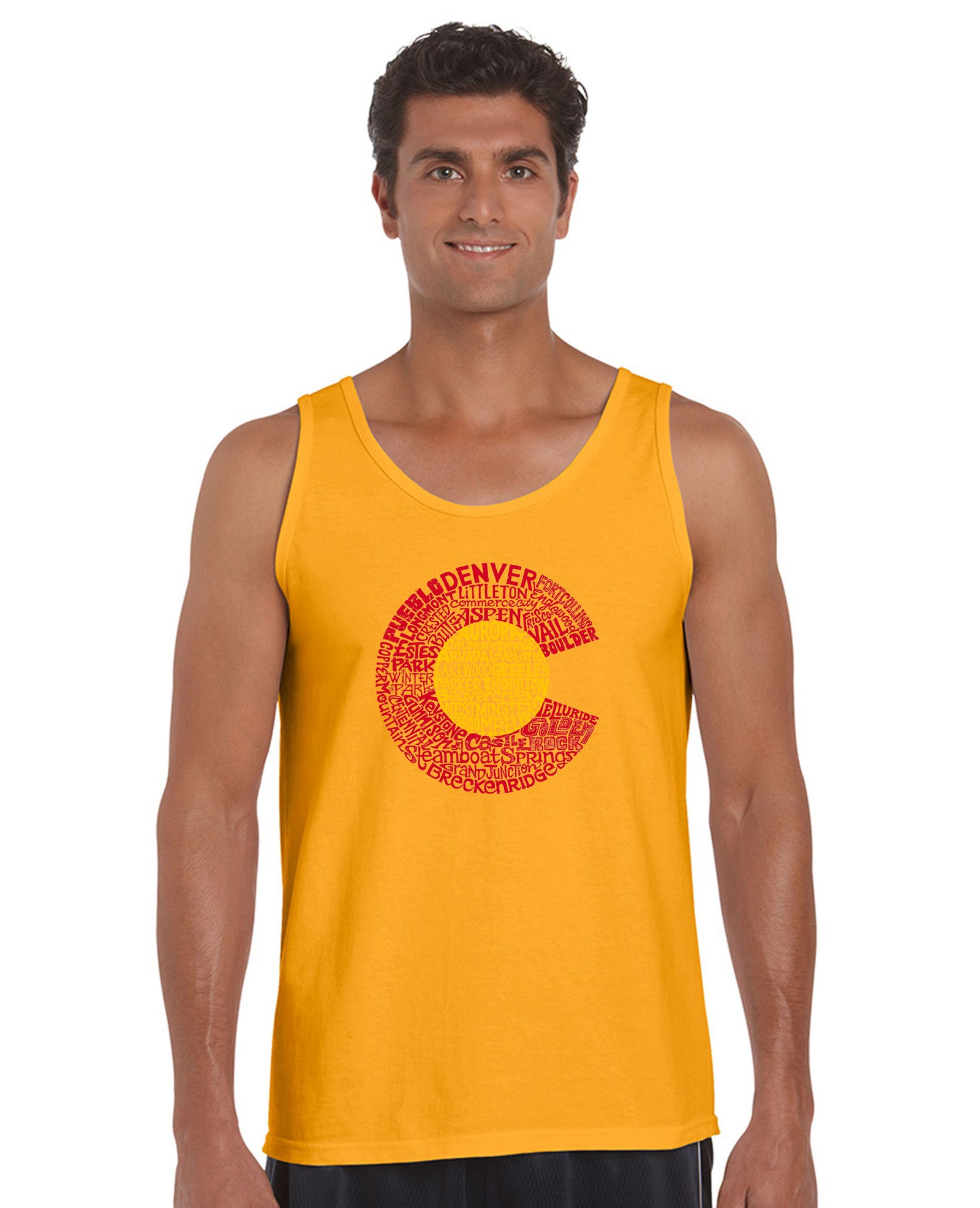 LA Pop Art Men's Word Art Tank Top - Colorado Casual No Sleeve