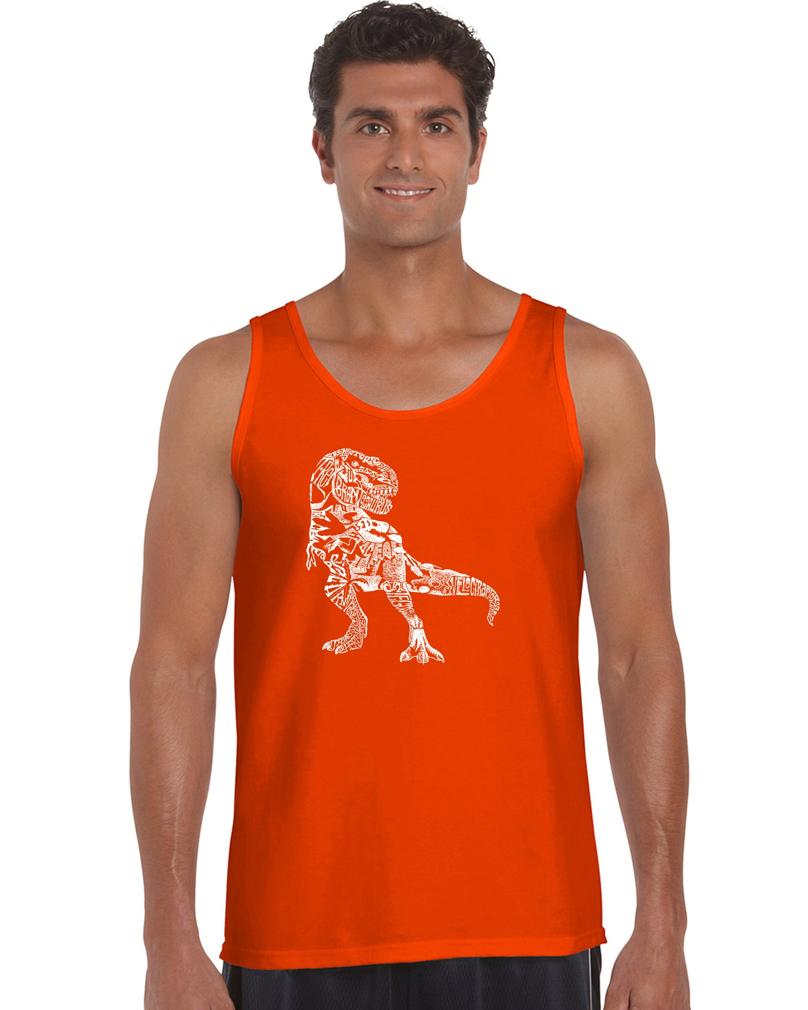 LA Pop Art Men's Word Art Tank Top - Dino Pics Casual No Sleeve