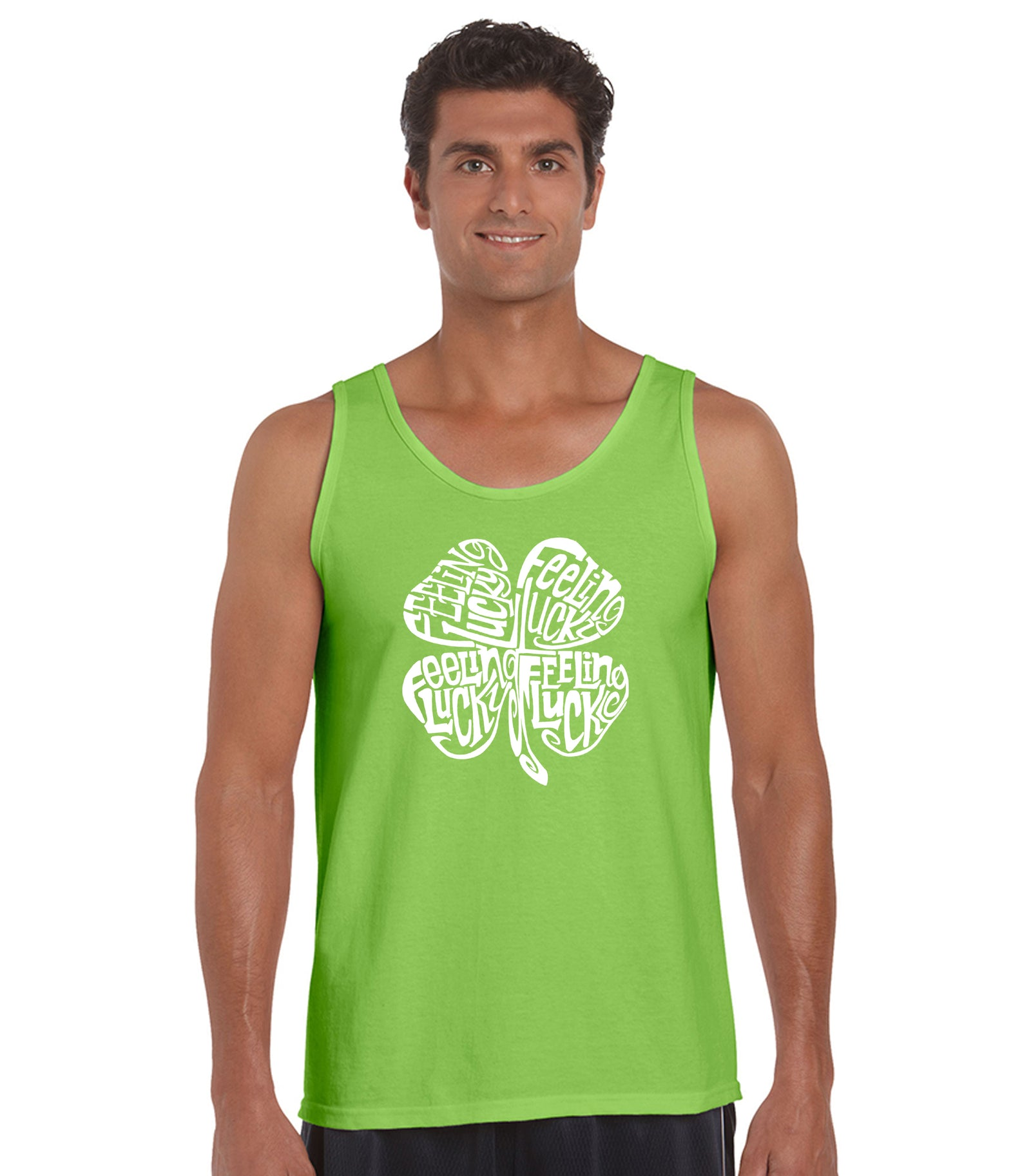 LA Pop Art Men's Word Art Tank Top - Feeling Lucky Casual No Sleeve