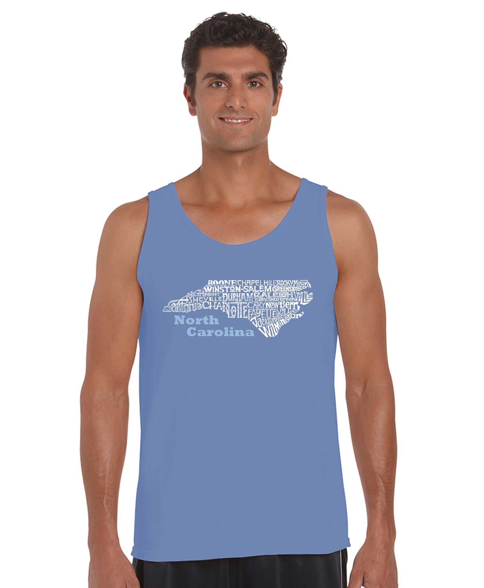 LA Pop Art Men's Word Art Tank Top - North Carolina Casual No Sleeve