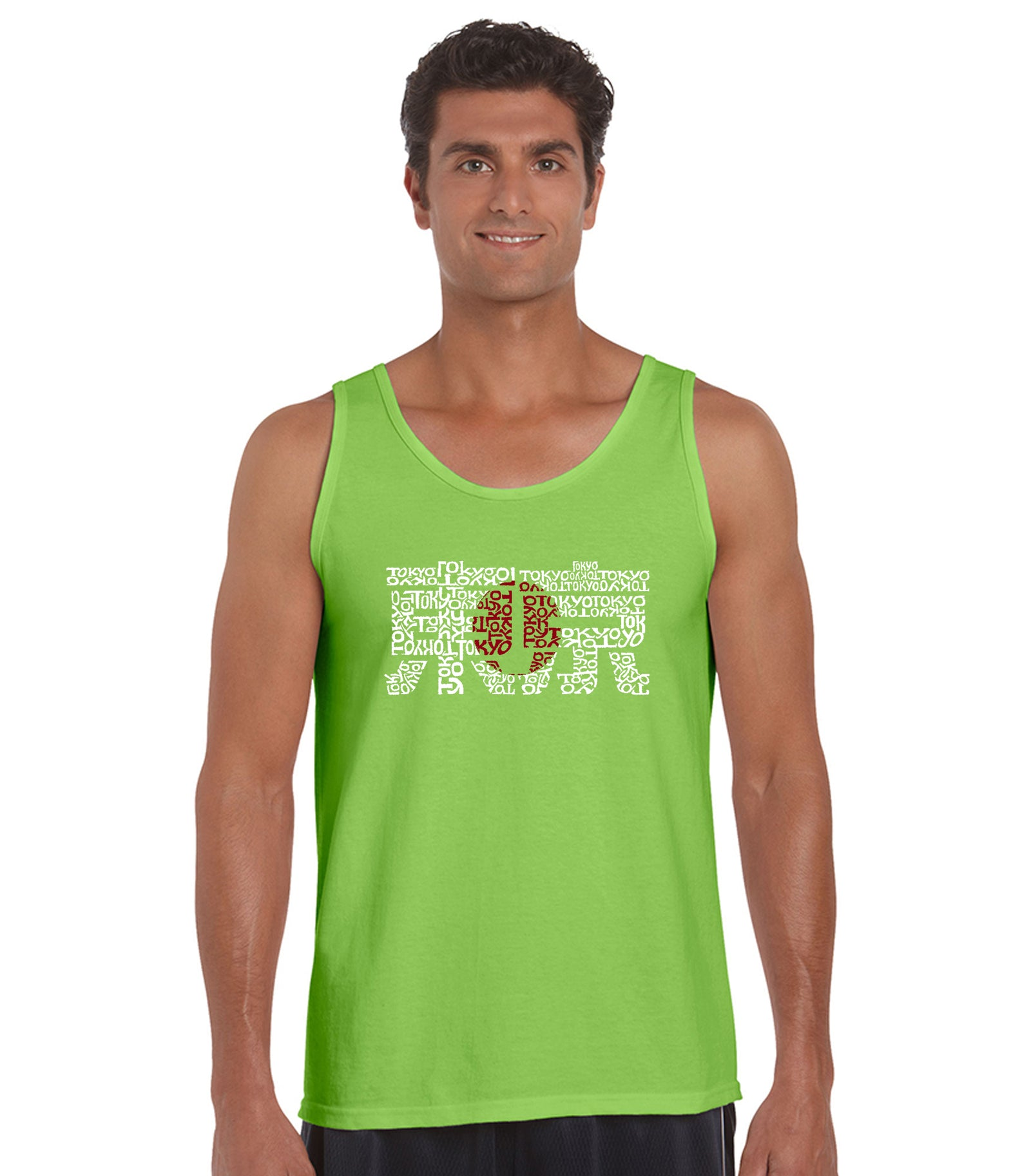 LA Pop Art Men's Word Art Tank Top - Tokyo Sun Casual No Sleeve