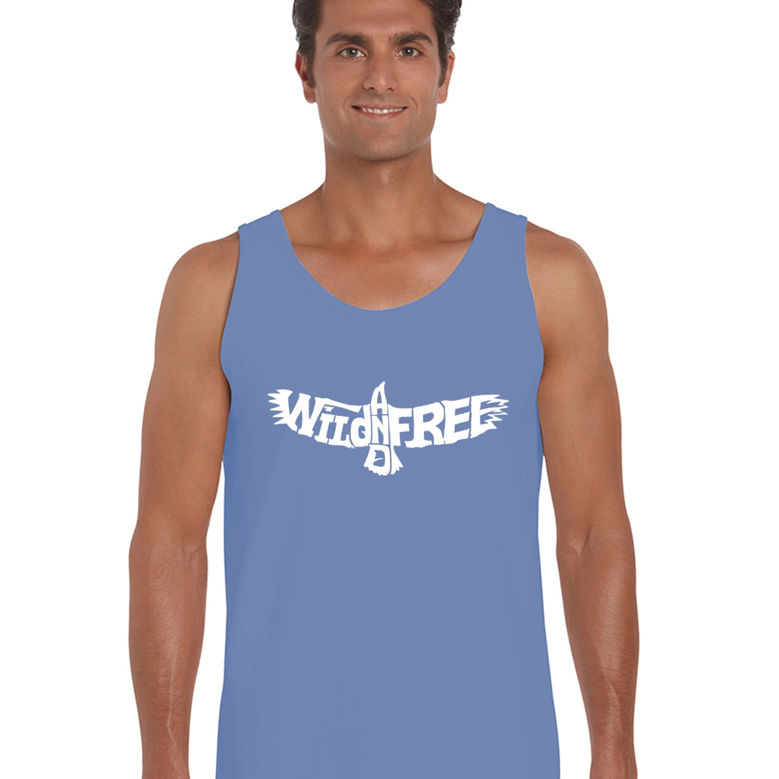 Men's Word Art Tank Top - Wild and Free Eagle