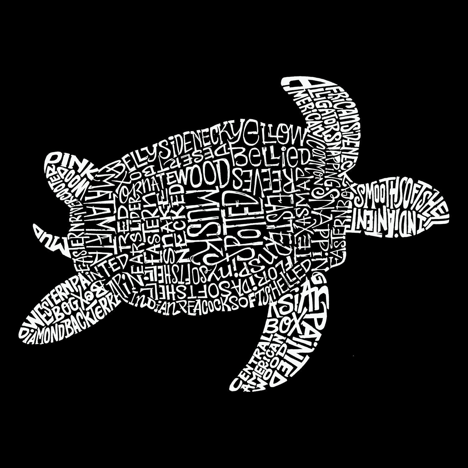 Men's Tall and Long Word Art T-shirt - Turtle
