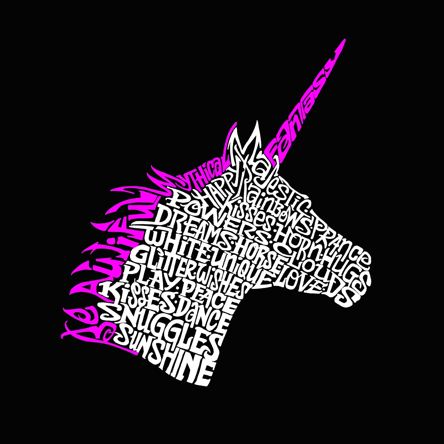 Men's Tall and Long Word Art T-shirt - Unicorn