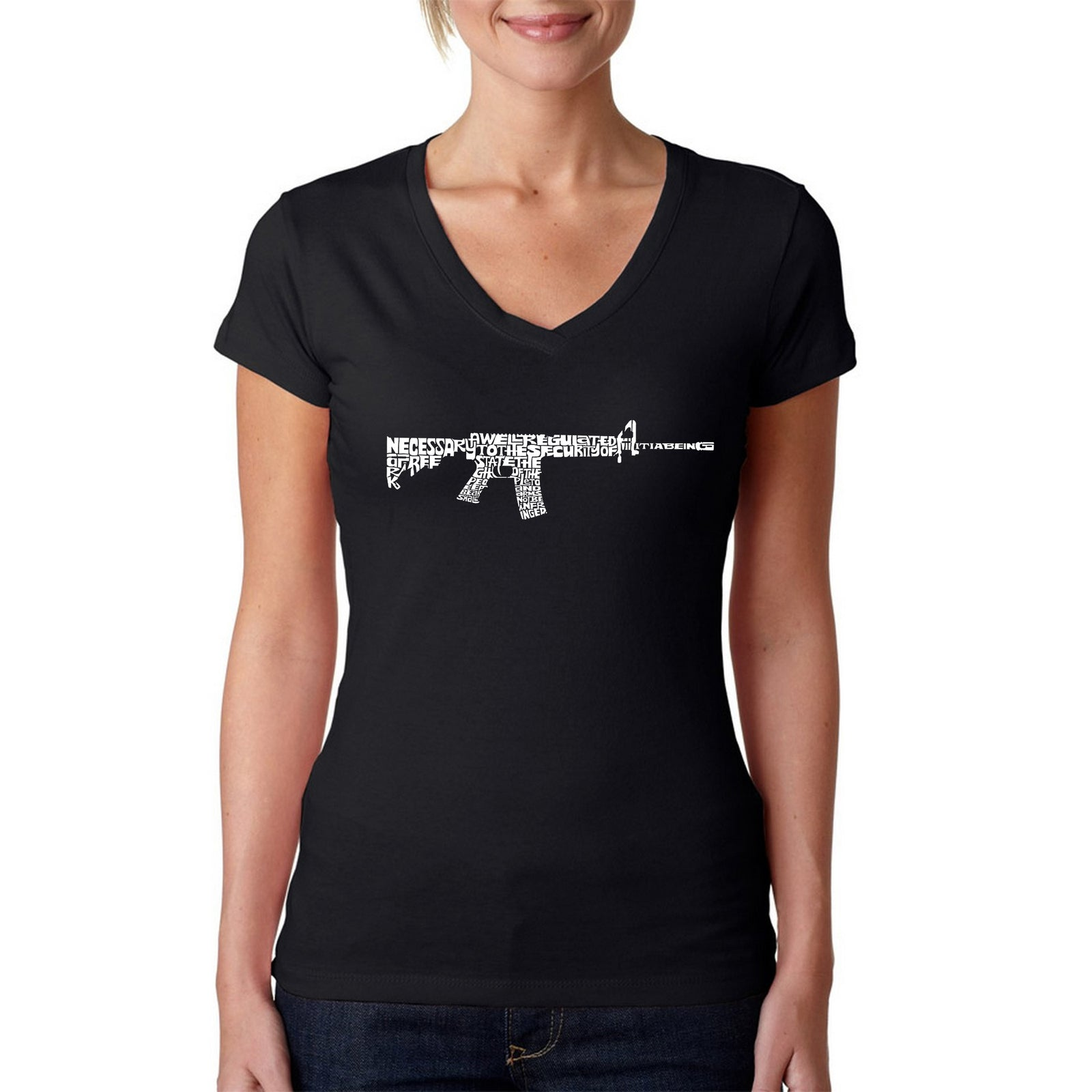 Women's V-Neck T-Shirt - AR15 2nd Amendment Word Art