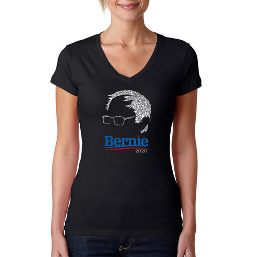 Women's Word Art V-Neck T-Shirt - Bernie Sanders 2020