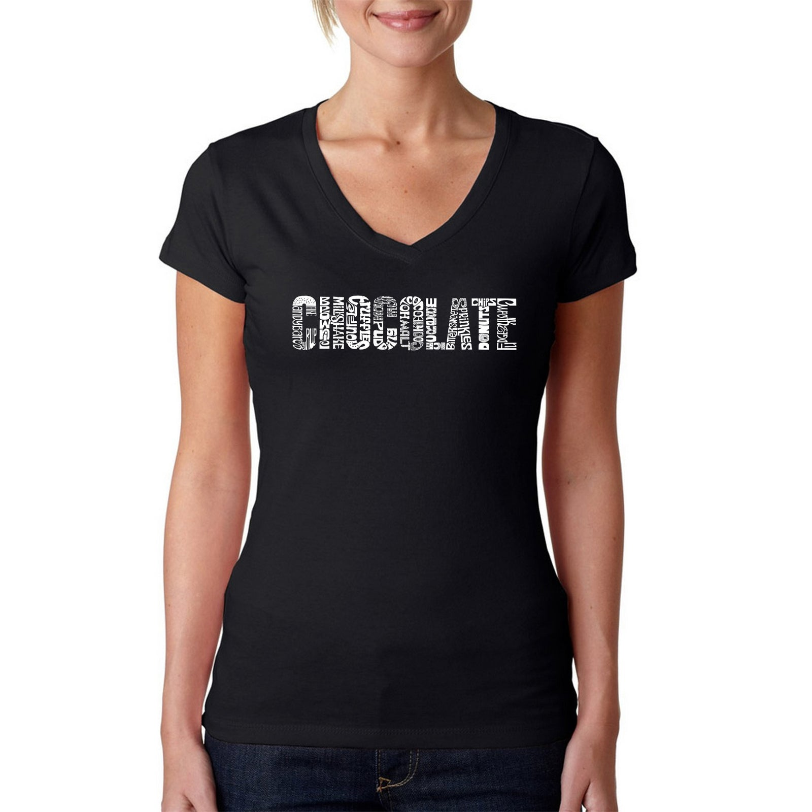 Women's V-Neck T-Shirt - Different foods made with chocolate