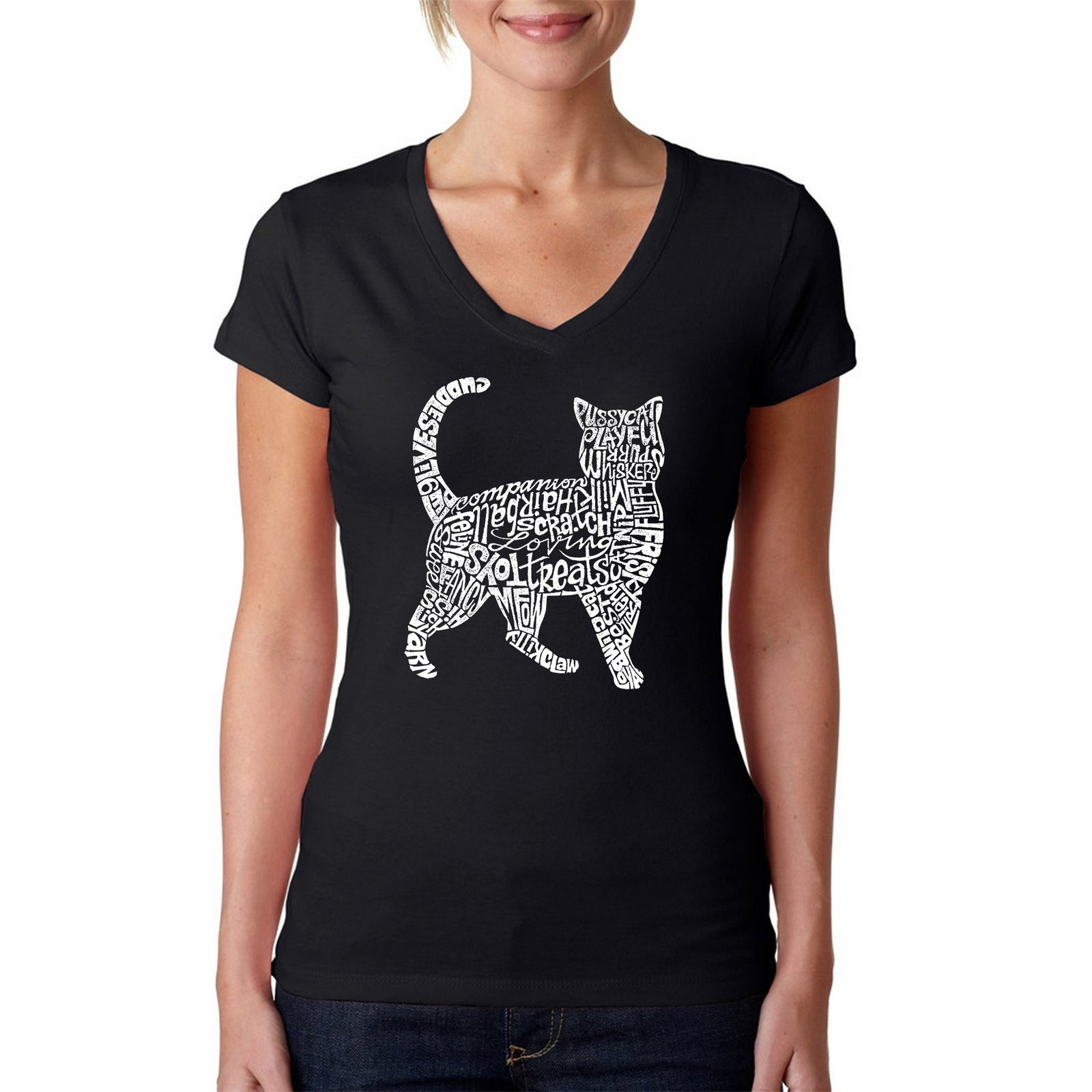 Women's V-Neck T-Shirt - Cat